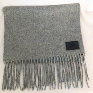 Coach 100% cashmere gray scarf fringe EUC